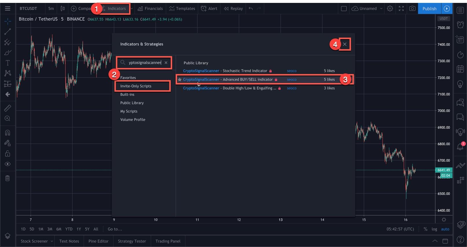 TradingView - Add Indicator - Step2